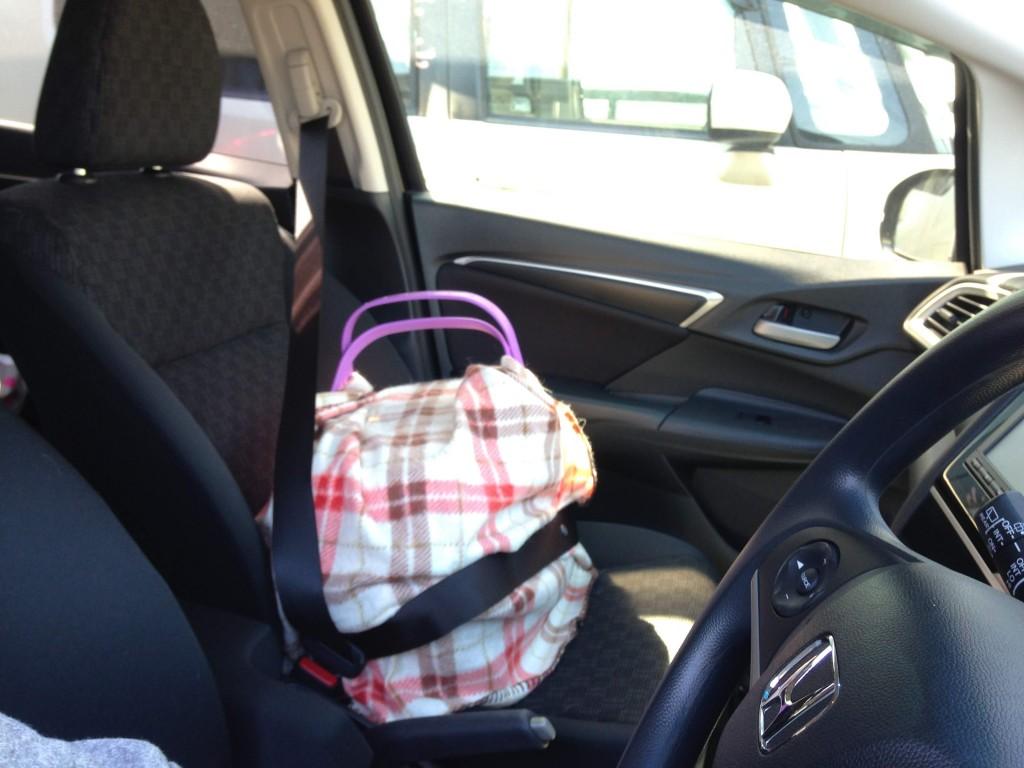 車移動ではぐらつかないようシートベルトを